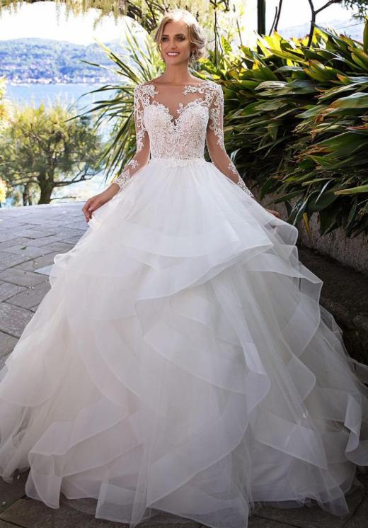 Elegant Appliques Full Sleeve White Ball Gown Wedding Dresses Tulle Bridal Tulle Wedding Dress Ballgown Ball Gown Wedding Dress Ruffle Wedding Dress