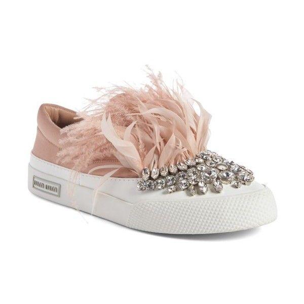 Miu Miu Embellished Feather Slip