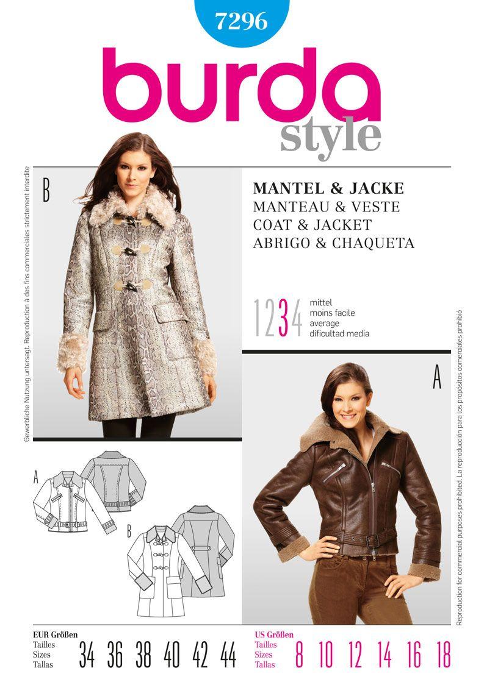 B7296 Burda Style, Coat & Jacket | A made of lambskin imitation ...