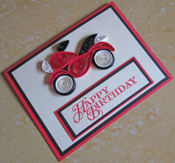 Paper quilling happy birthday card quilled masculine bike motorcycle motorbike for dad husband boyfriend also best images in patterns papercraft rh pinterest
