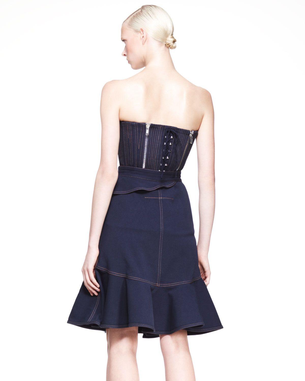 Denim Zip-Trim Ruffle Skirt