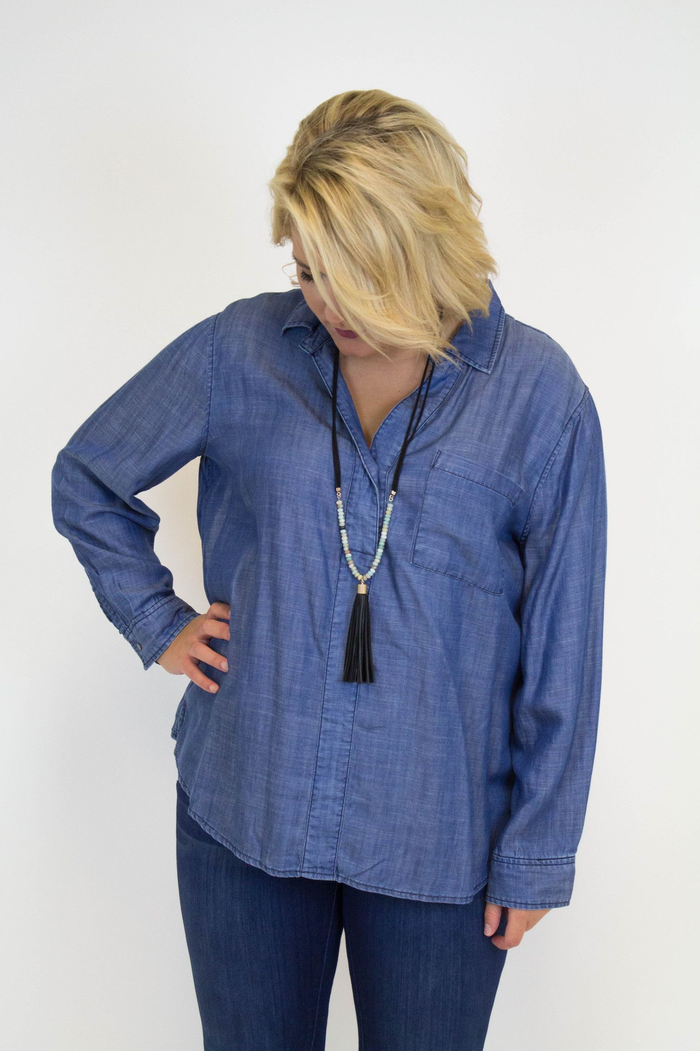 Denim Long Sleeve Top W/Pockets - Plus Size