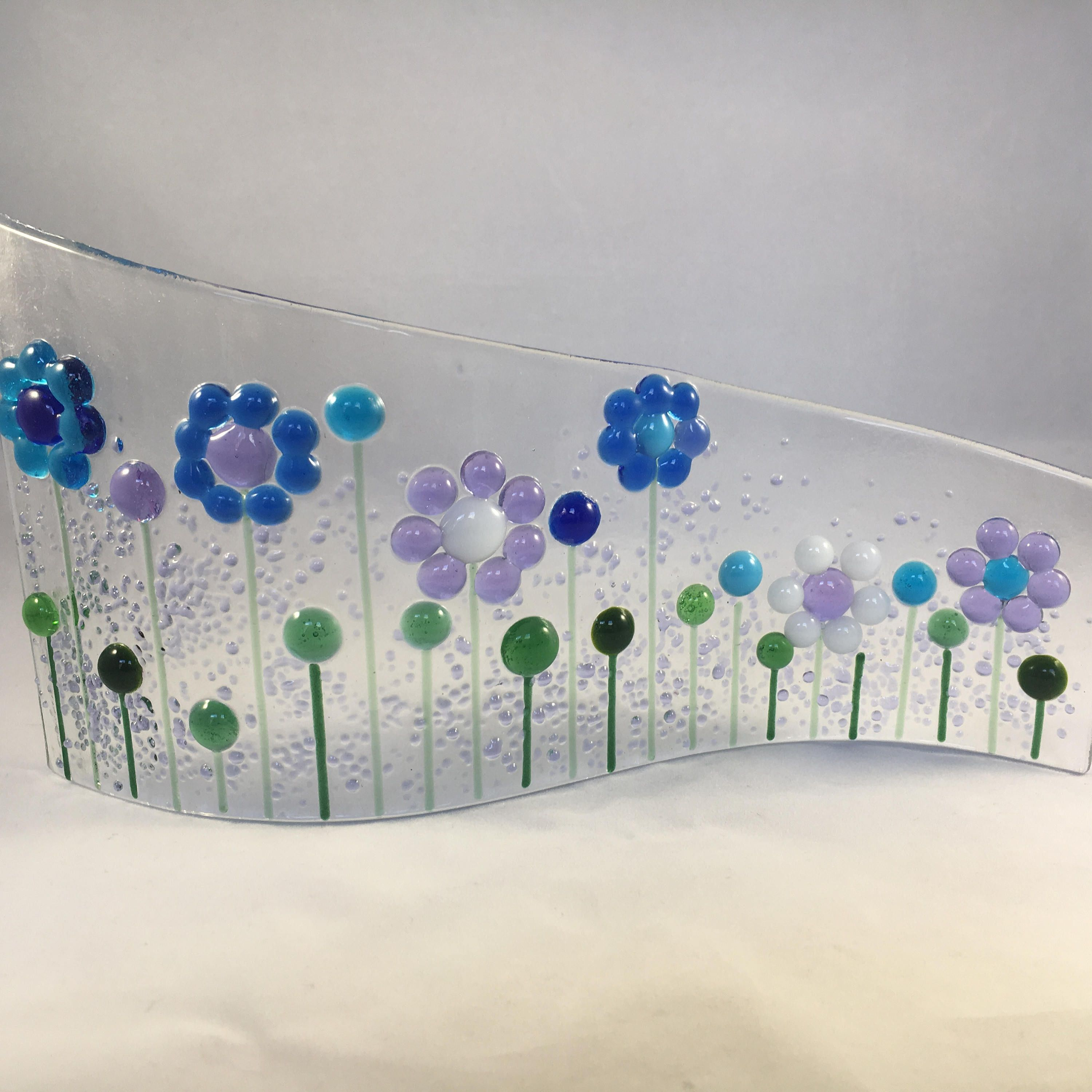 Floral Glass S Curved Plaque, Floral Candle Display, Fused Glass ...