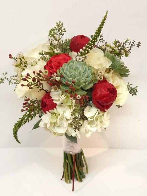 calgary wedding flowers dahlia floral design bridal bouquet florist red ivory mint green succulent rustic natural