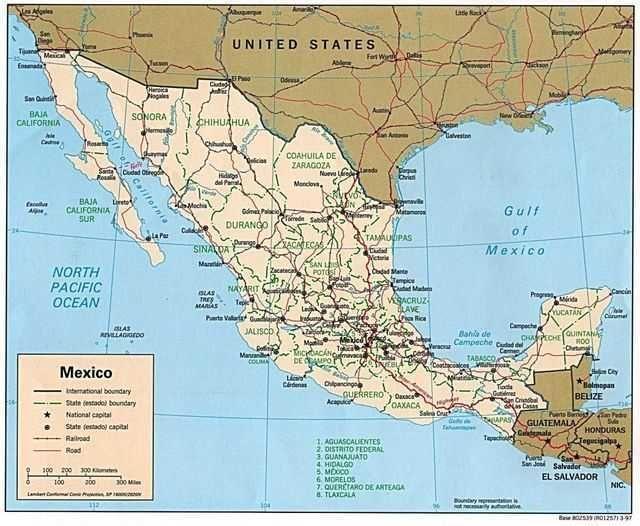 Mapa Politico De Mexico De 1997 Mexico Map Political Map Mexico
