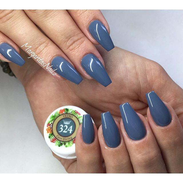 Grey coffin nails fall colors nail design | Nail colors ...