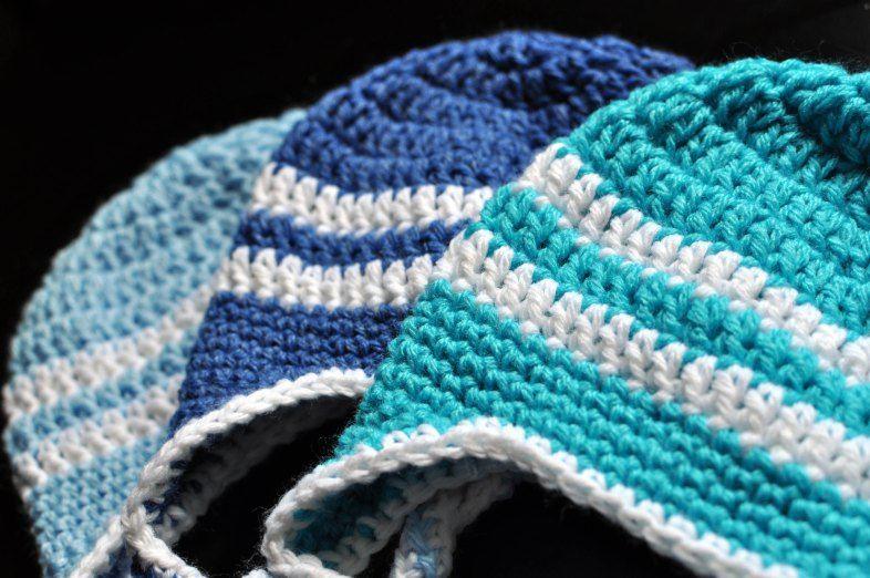 Free Crochet Pattern Striped Earflap Hat Crochet Pinterest