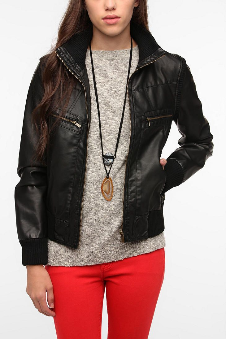 Faux Leather Ribbed Collar Bomber Jacket By Urban Outfitters Urban Outfitters Jacket Jackets For Women Fashion [ 1095 x 730 Pixel ]