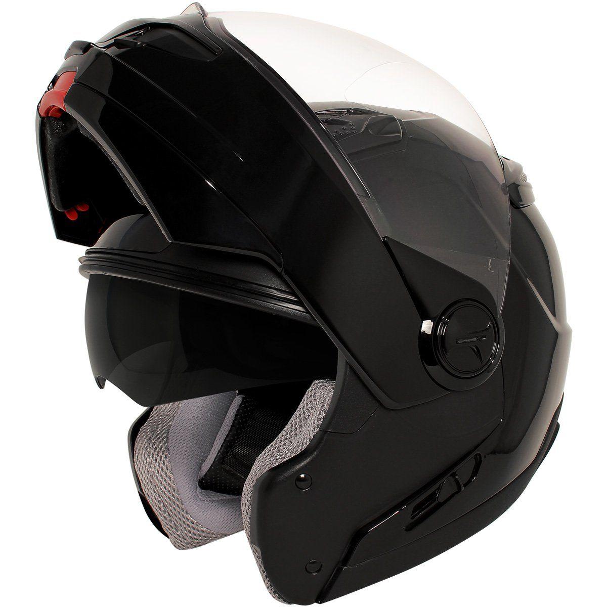 Hawk st transition in glossy black modular helmet with hawk