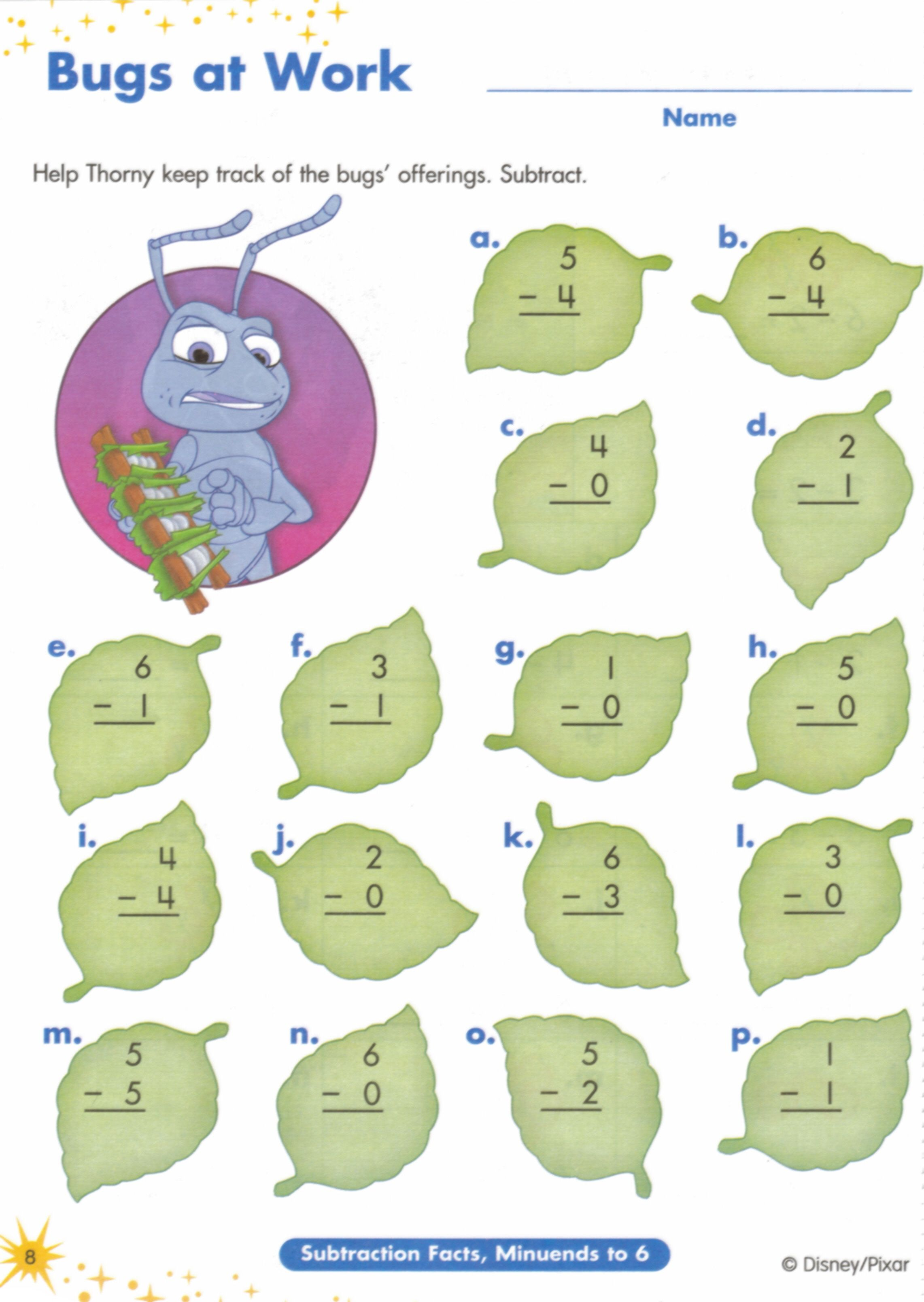 10 MATH ACTIVITY bugs life subtraction worksheets to add a – Worksheets on Subtraction