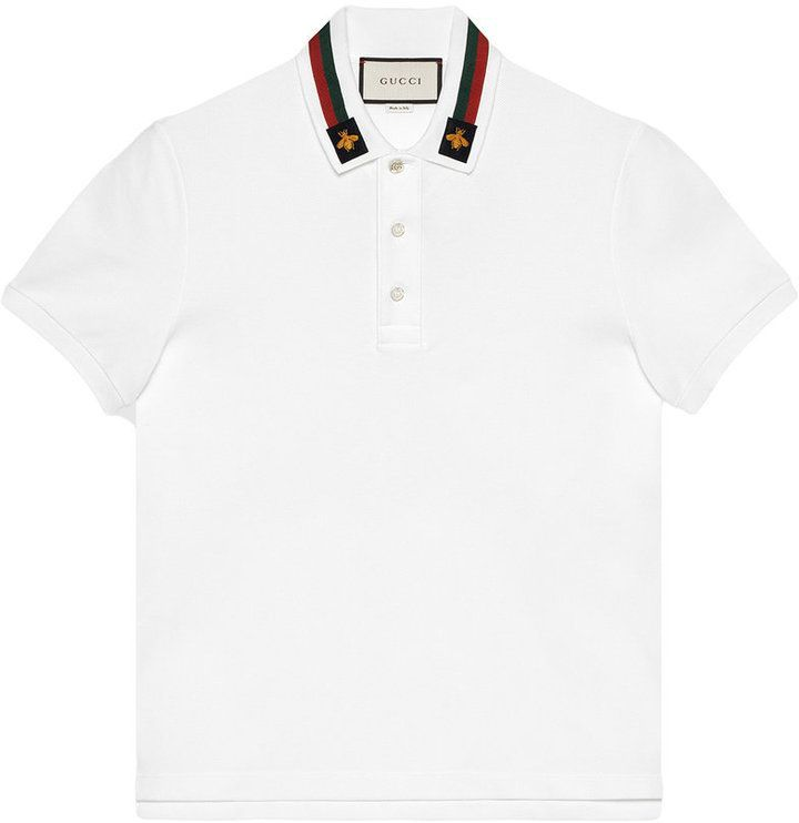 0bd7a08fa4c Gucci Cotton Polo With Web And Bee