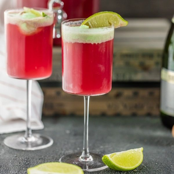 Cranberry Limeade Champagne Punch -  the_cookie_rookie