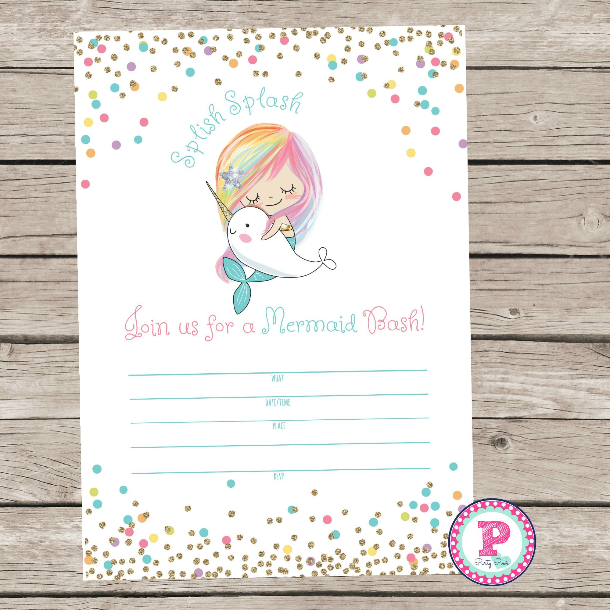 Mermaid Bash Narwhal Pool Party Fill In the Blank style Birthday ...