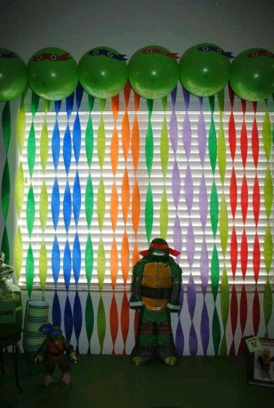 decoracin con cortinas de papel crep