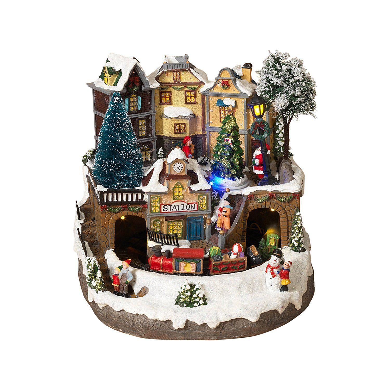 Led Lighted Fiber Optic Animated Snowy Christmas Village Scene With Train Christmas Village Spinning Christmas Tree Holiday Village