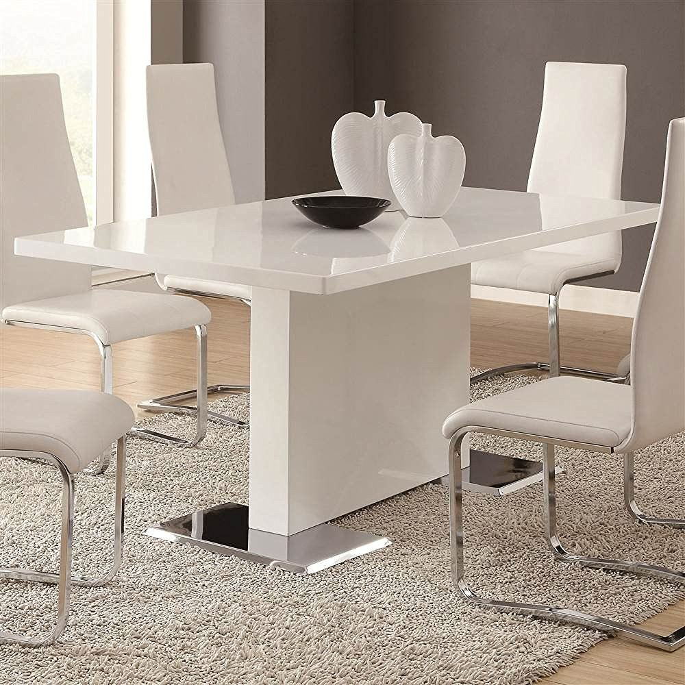 Coaster Home Furnishings Glossy White Contemporary Dining Table 63 X 35 5 X 30 Inch Contemporary Dining Room Sets White Dining Table Modern Dining Table