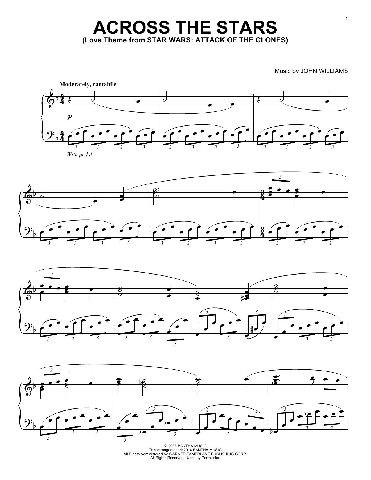 John Williams Across The Stars Sheet Music Star Wars Piano Sheet
