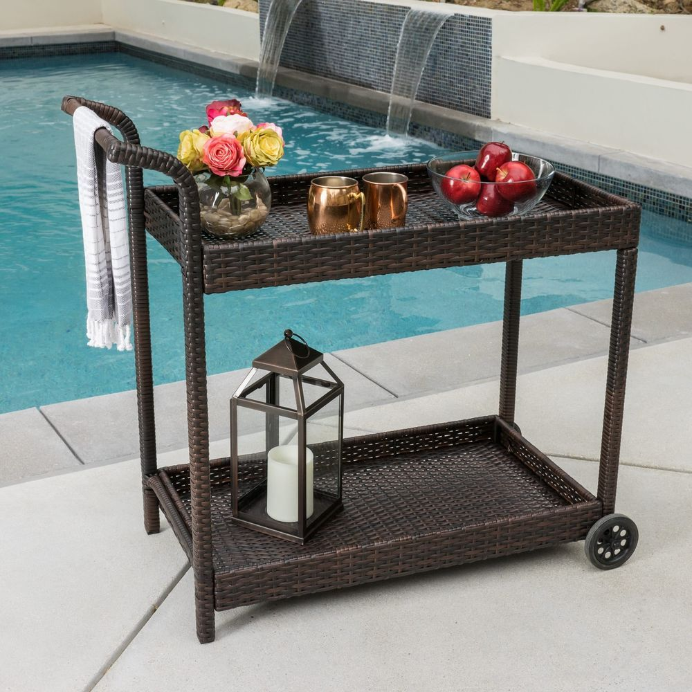Wicker Bar Cart Wheels Mental Frame Patio Pool Bar Outdoor Backyard ...