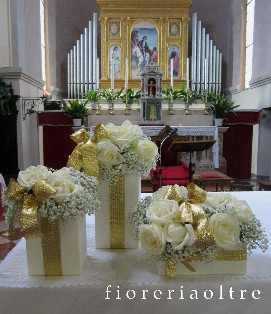 Church Wedding Flower Decorations: Fioreria Oltre/ 50th Wedding Anniversary/ Golden