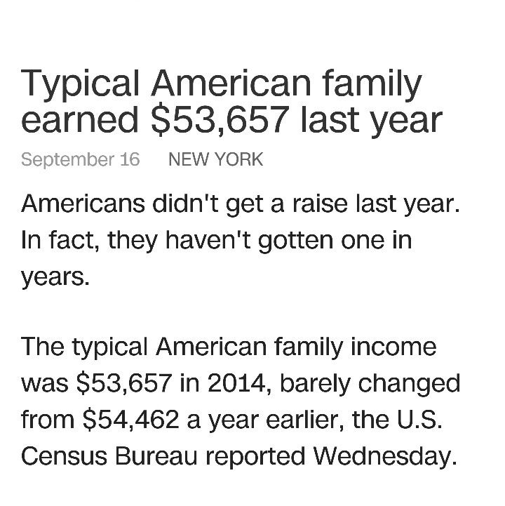 """$53,657 if you are the """"TYPICAL"""" family annual last year. .... Most people are not the """"TYPICAL""""...... VS. $54,824 in 183 days. ...working from home,  from the beach,  from Vegas baby, from anywhere you want to be at the time because your time is yours....Smh! I choose 183 days.....what about you?  Www.workandgetpaidonline.com"""