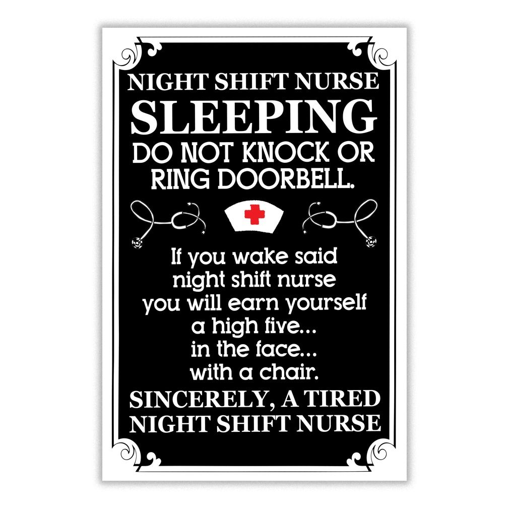 "Funny Nurse Quotes Funny ""tired Night Shift Nurse"" Postergreat Gift Idea  Funny"