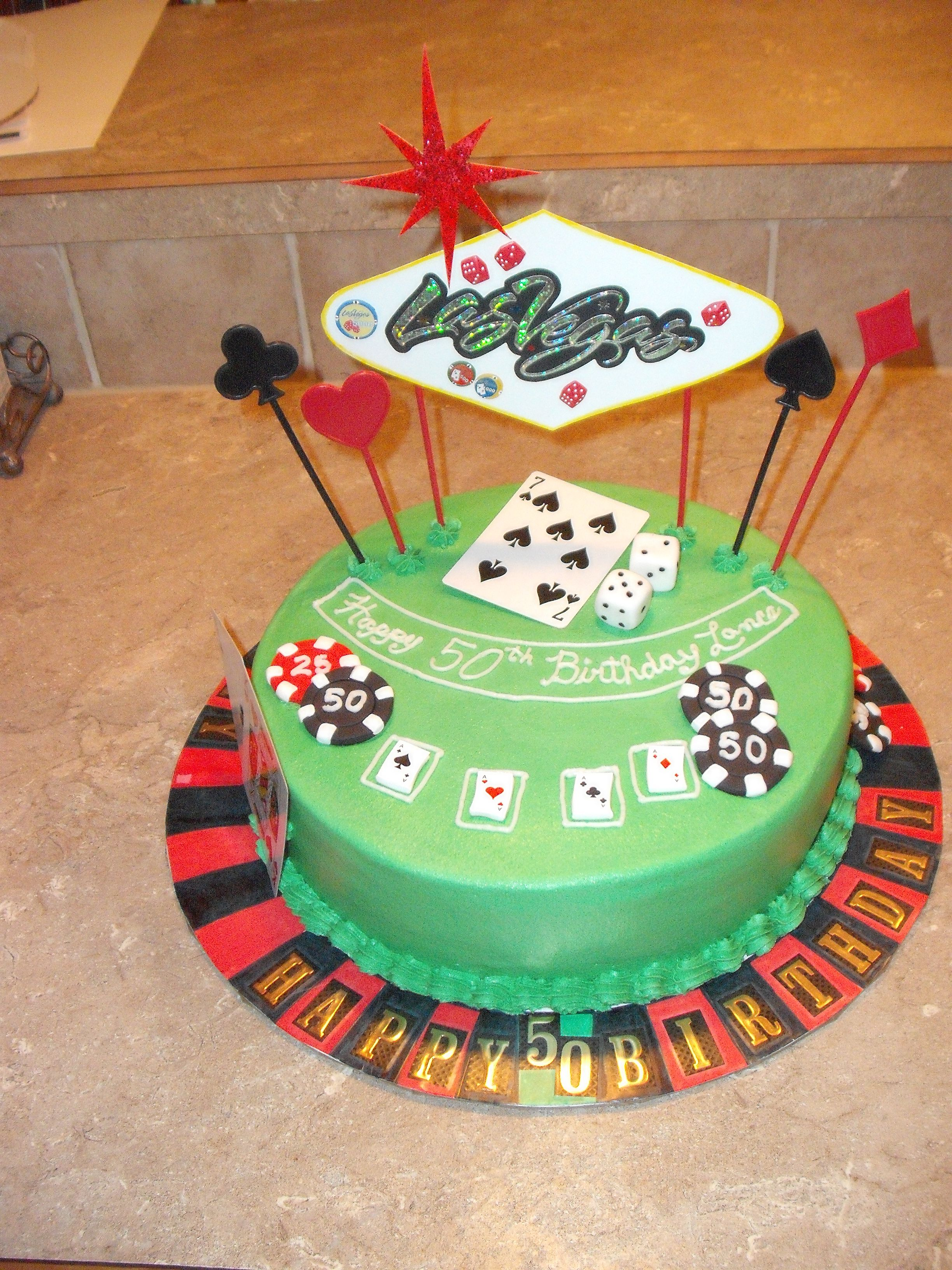Terrific Las Vegas Casino Themed 50Th Birthday Cake Themed Cakes Funny Birthday Cards Online Fluifree Goldxyz