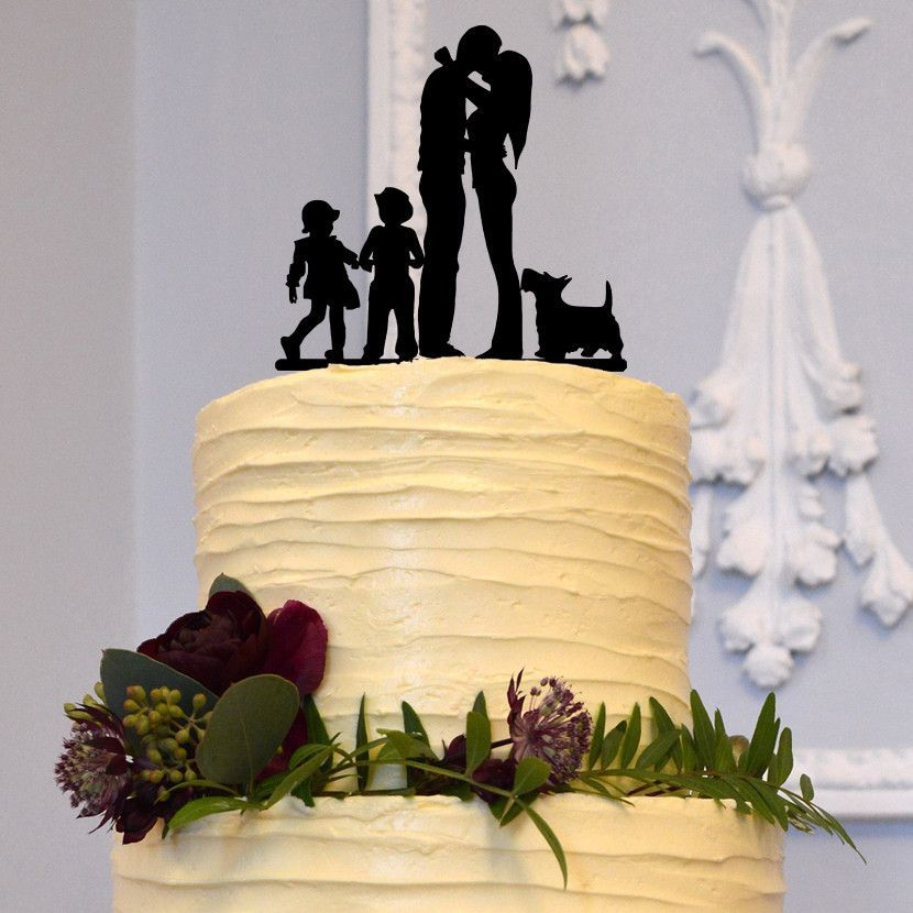 Family Wedding Cake Topper (Mom Dad Son Daughter & Dog) [Bride Groom ...