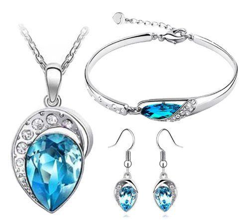 Cyan Ocean Blue Austrian Crystal Jewellery Set Combo Of Leaf Pendant Necklace…