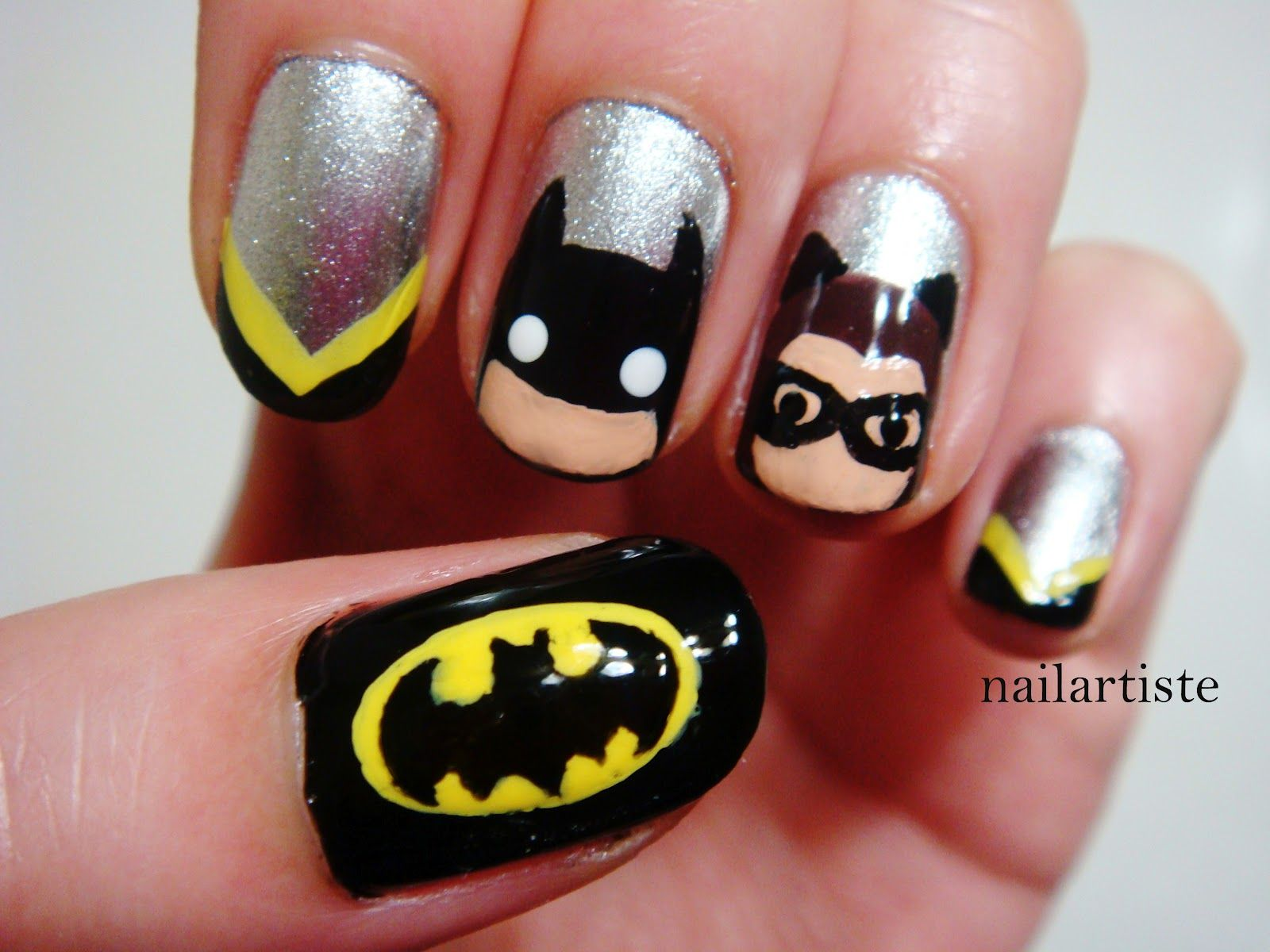 The Nail Artiste Batman And Catwoman Nails Pinterest Batman