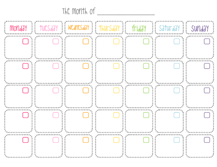 Cute Printable Monthly Calendar  Christine Fung