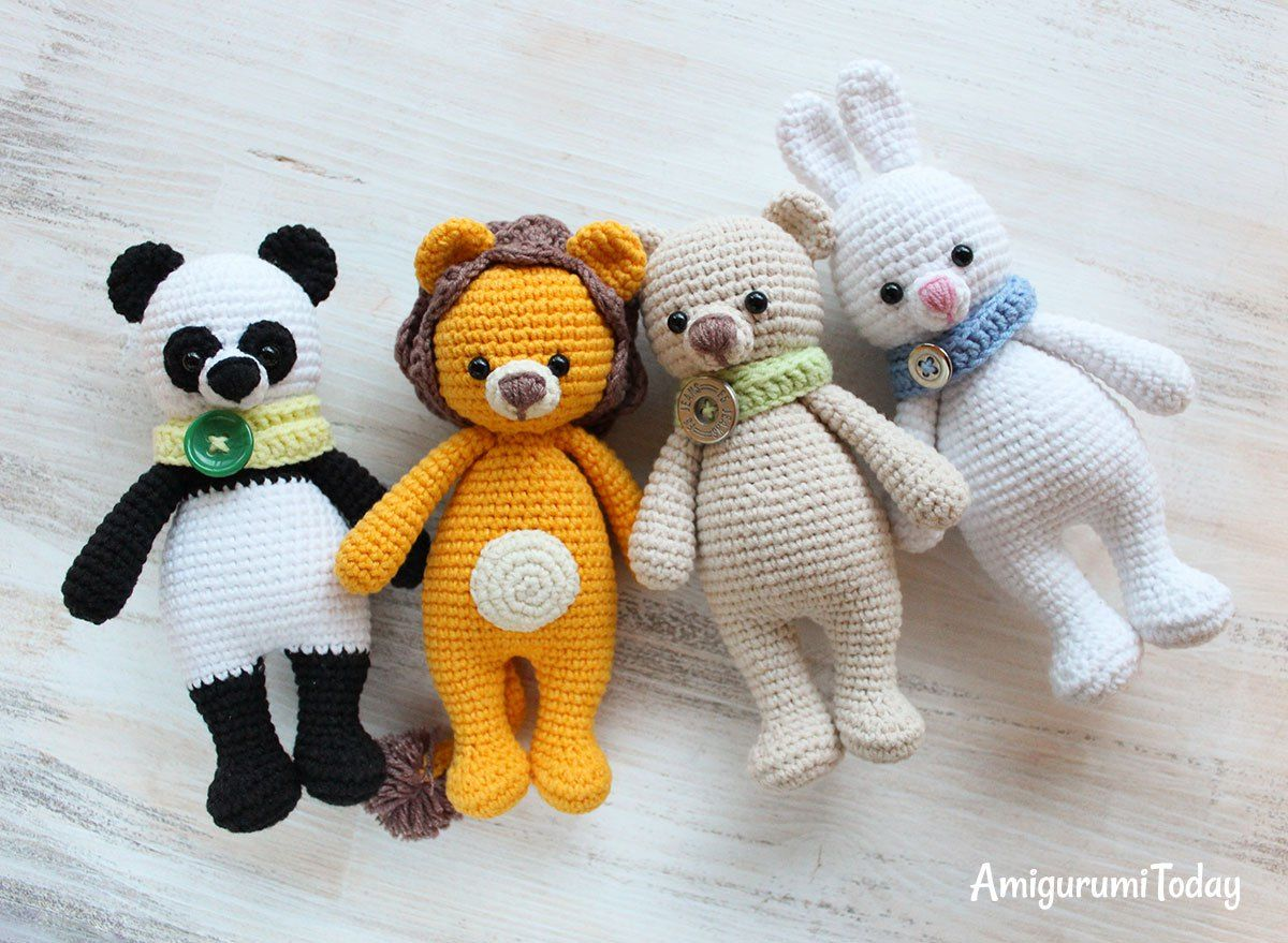 Amigurumi Crochet Patterns Teddy Bears : Cuddle me lion panda bear and bunny free amigurumi patterns