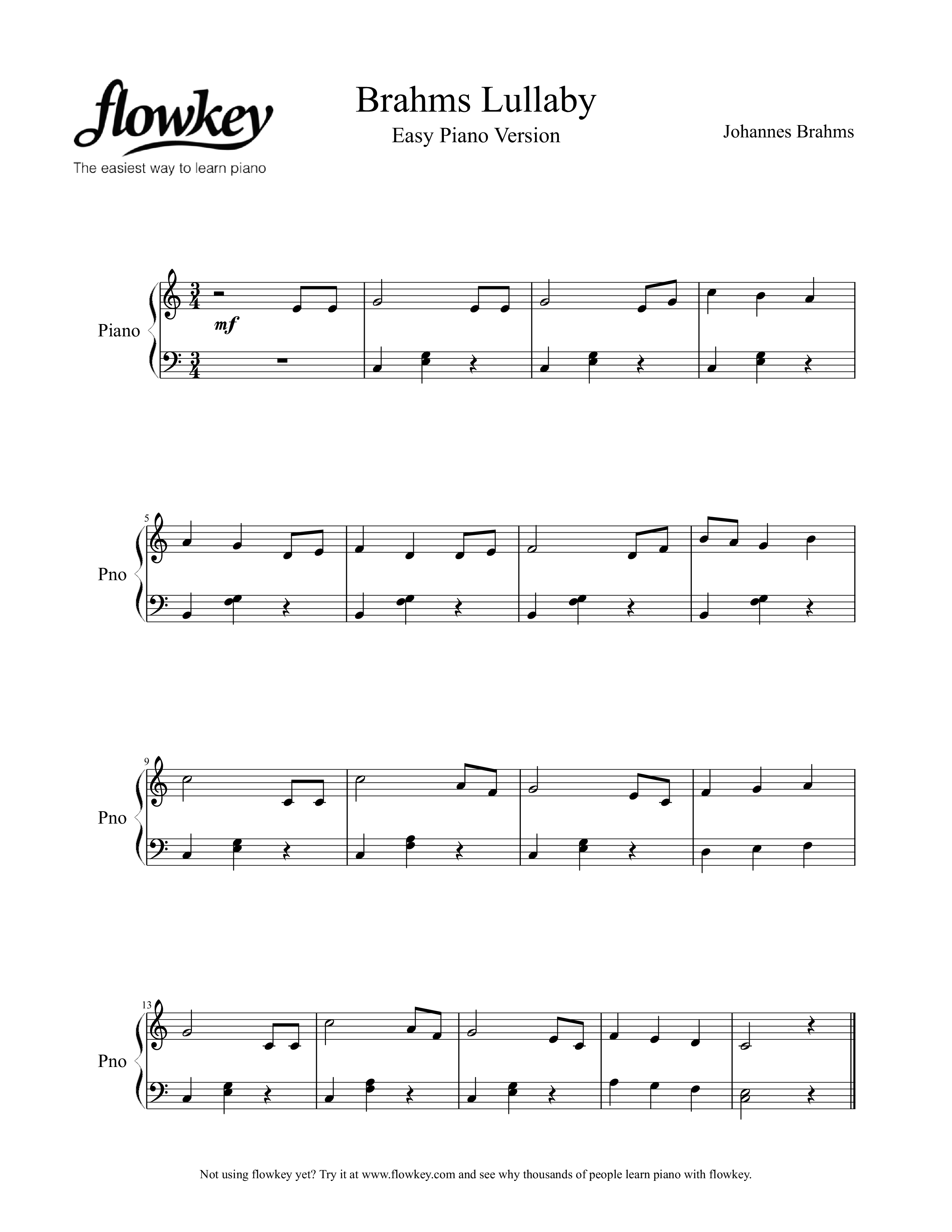Johannes Brahms : Lullaby Easy Version - Free Piano Sheet Music from