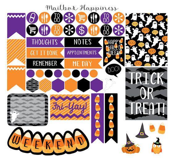 Halloween Planner Stickers, Erin Condren October Life Planner Stickers, Fall Planner Sticker, Planner Accessory, Happy Planner Stickers