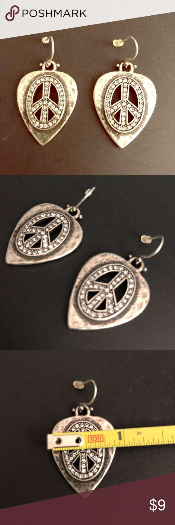 Download Lucky Brand peace sign guitar pick earrings | Lucky brand ...