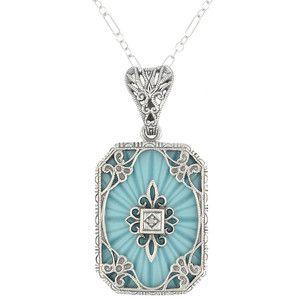 Art deco filigree scrolls starburst diamond pendant necklace in art deco filigree scrolls starburst diamond pendant necklace in sterling silver mozeypictures Choice Image