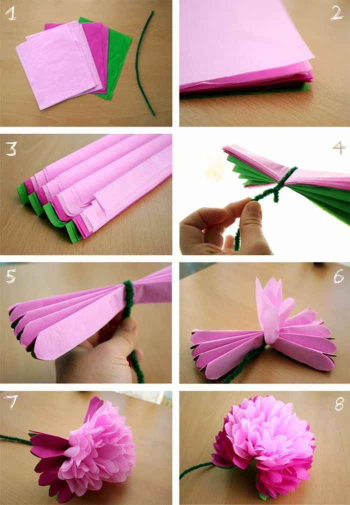 Bunbte Servietten Rosa Blume Aus Papier Papierblume
