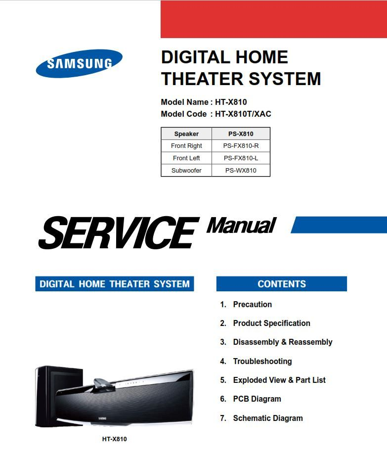 Samsung Ht X810 X810t Home Theater System Service Manual Repair Guide Repair Guide Home Theater System Samsung