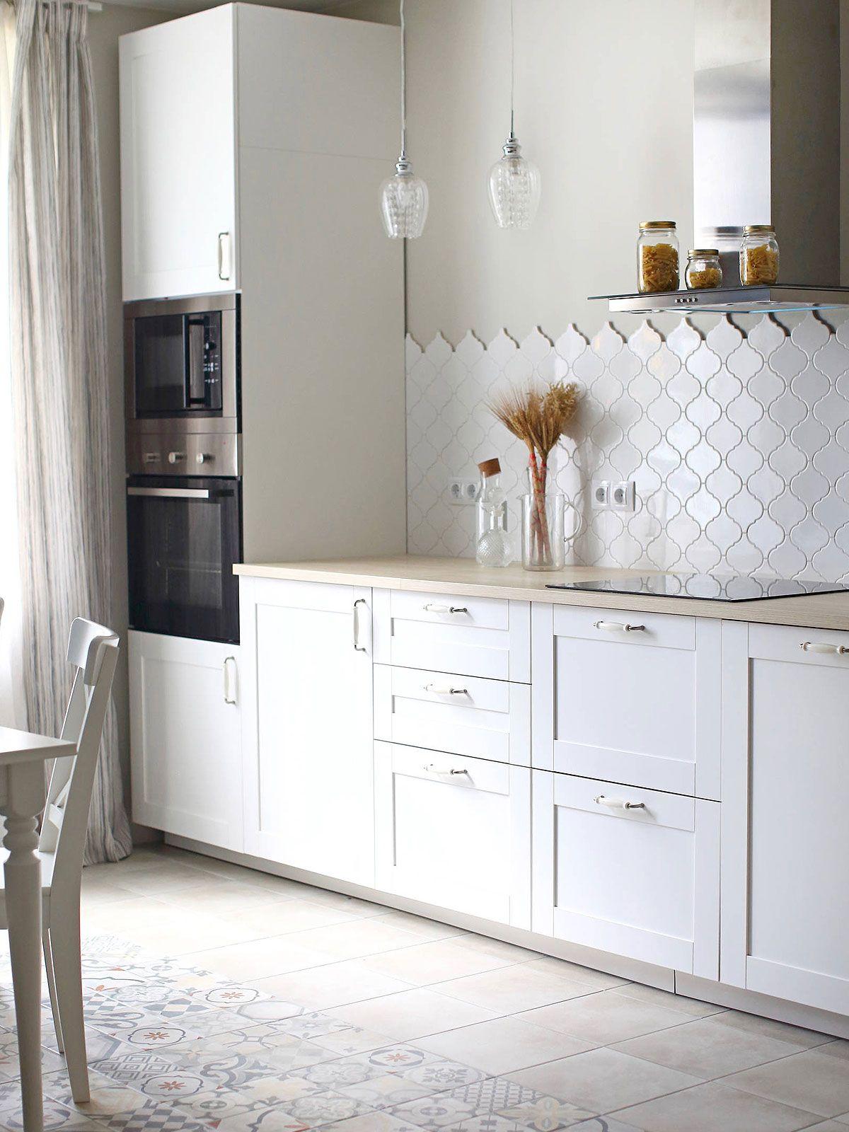 - White Glazed Porcelain Arabesque Backsplash Tile Backsplash.com