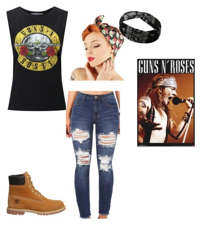 """""""Axl Rose ♡"""" by hippyrain ❤ liked on Polyvore featuring Miss Selfridge, Timberland and Forever 21"""
