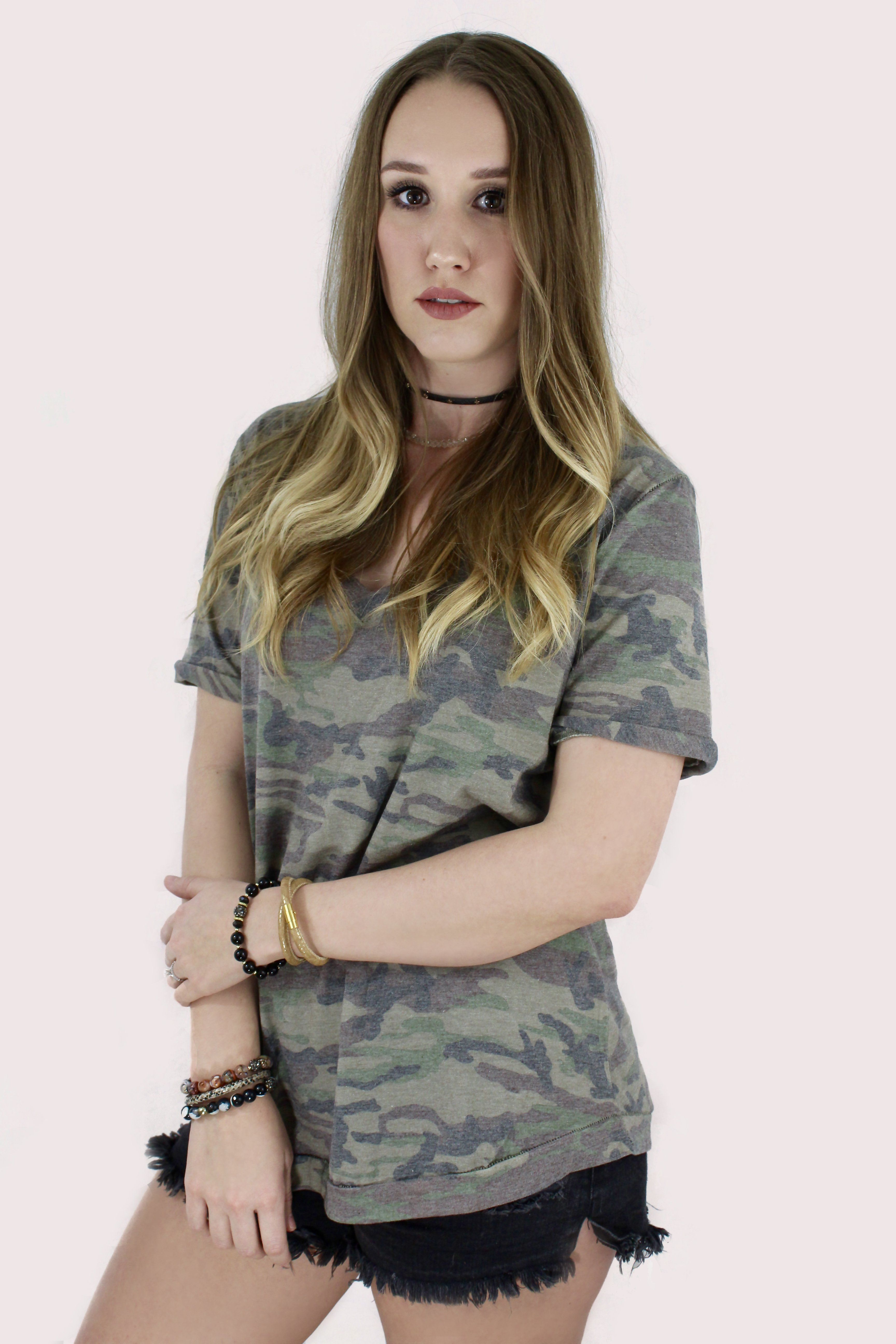 2bdd803d9dd9d9 Fearless Babe Green Camouflage Casual V-Neck T-Shirt in 2019 ...