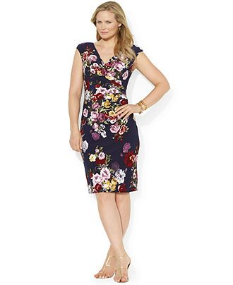 Lauren Ralph Lauren Plus Size Cap-Sleeve Floral-Print Dress ...