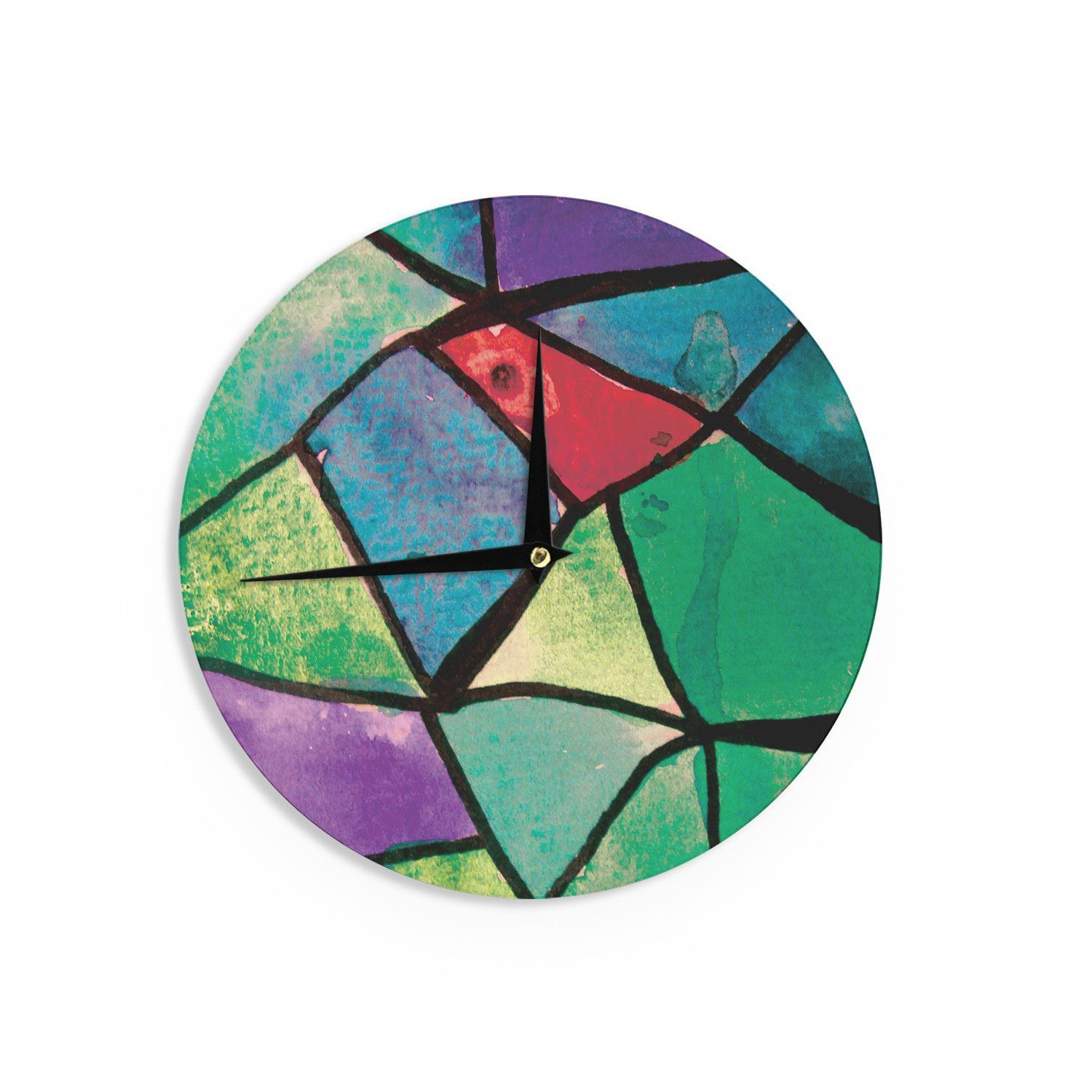 "Theresa Giolzetti ""Stain Glass 1"" Wall Clock"