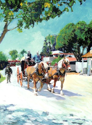 Stagecoach on Calhoun Street, acrylic painting on canvas by RD Riccoboni®, one of America's favorite cultural heritage artists.  From The Beacon Artworks Gallery Collection at Fiesta de Reyes in  Old Town San Diego State Historic Park.    ...BTW,Please Check this out:  http://artcaffeine.imobileappsys.com