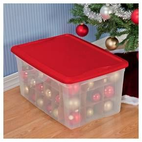 sterilite jumbo holiday ornament storage box rocket red