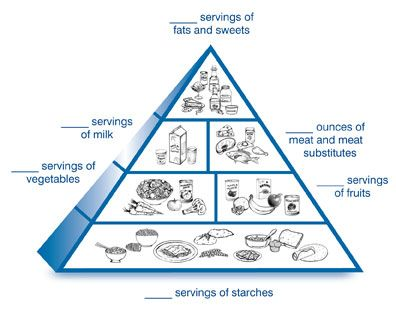 a drawing of the diabetes food pyramid divided into six sections