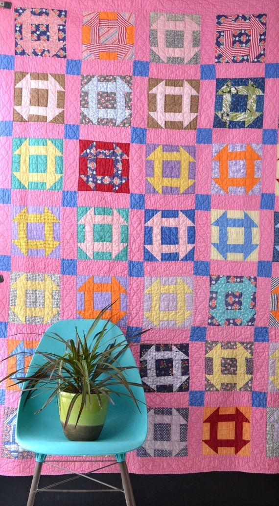 Vintage Geometric Quilt Bright Colors Grecian Square by KOLORIZE, $165.00