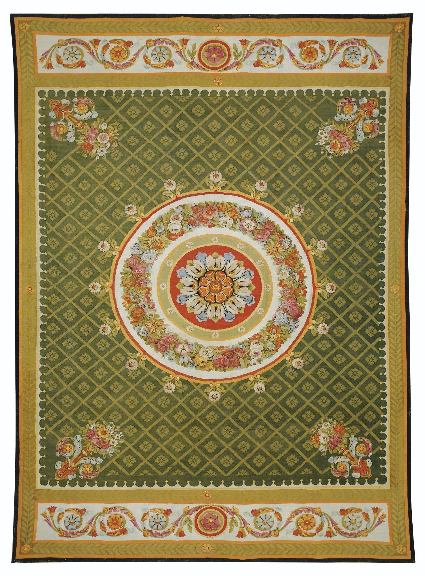 An Aubusson Carpet Restauration Tapis Tapisserie Guirlande De Fleurs