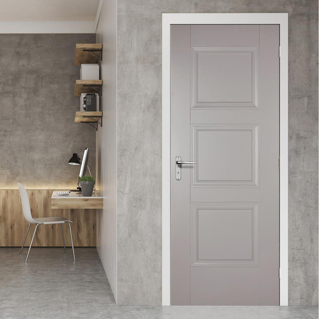 Amsterdam 3 Panel Grey Primed Door Grey Internal Doors Internal Doors Door Design
