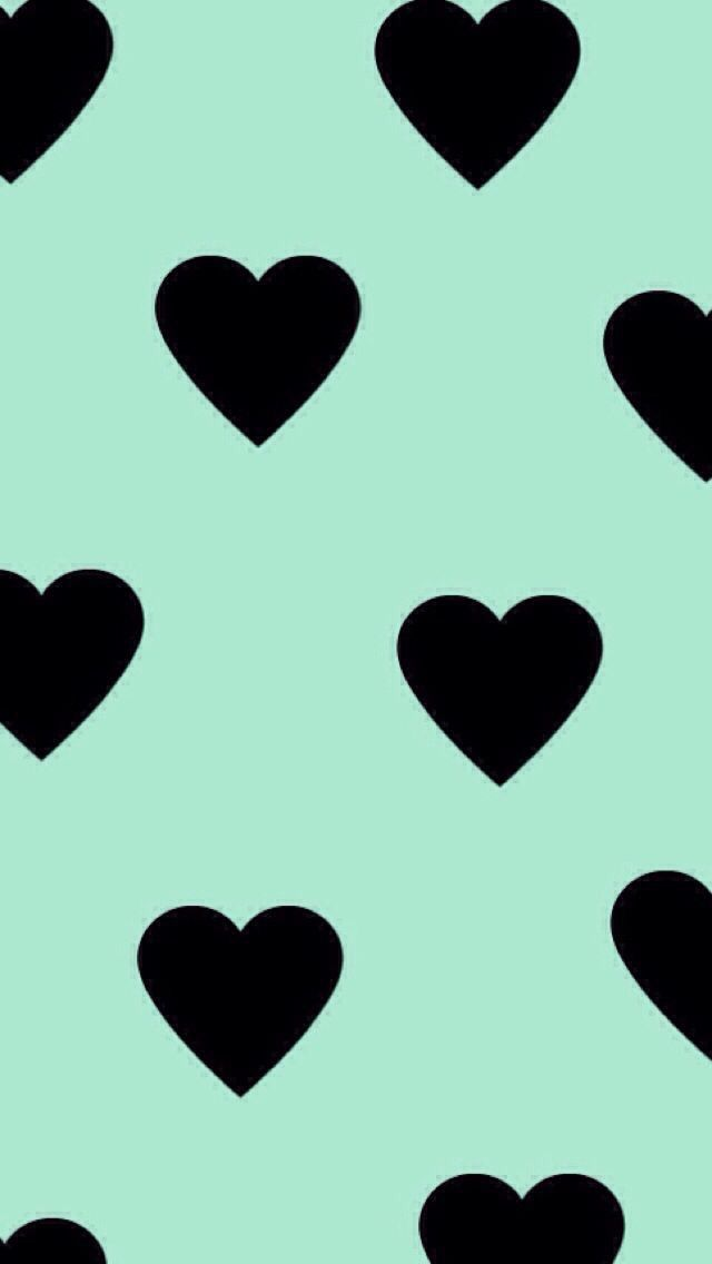 Mint Background Black Hearts Pattern Mint Green Wallpaper Heart Wallpaper Pretty Wallpapers