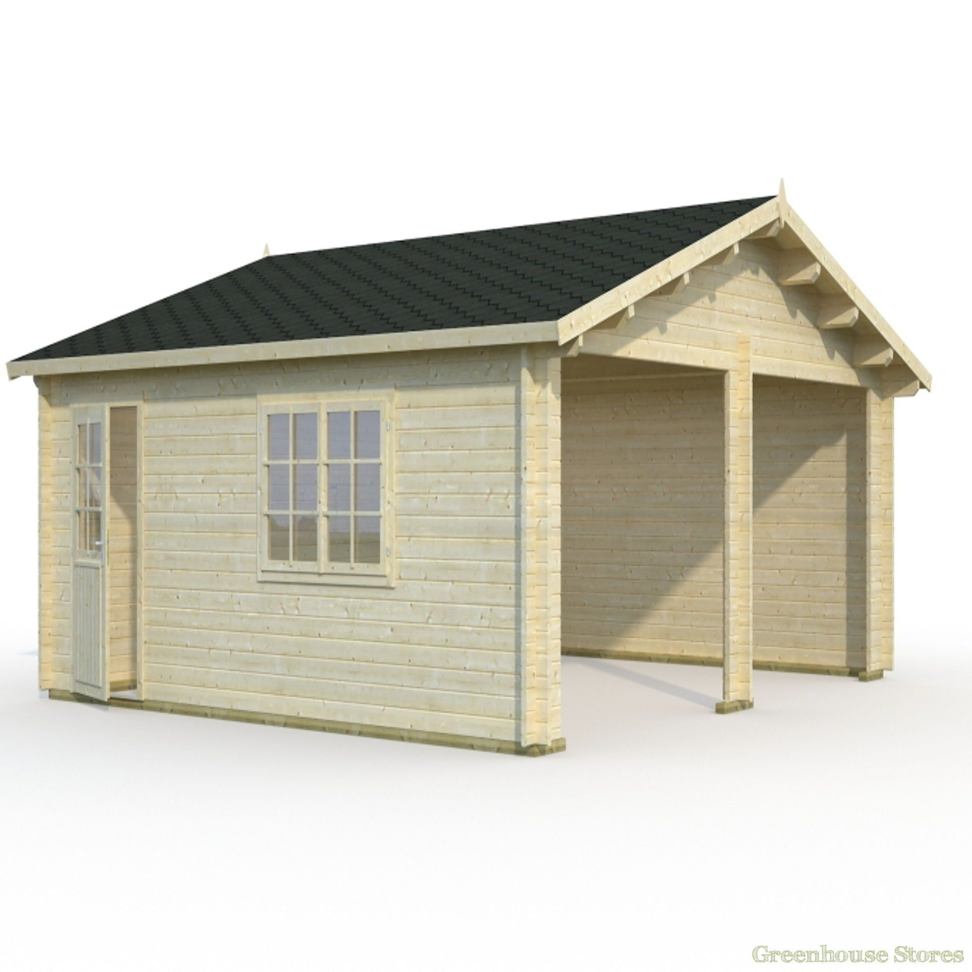 Palmako 18ft x 16ft Double Wooden Garage from Greenhouse